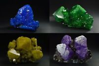 Alunite chalcanthite crystals on matrix purple green yellow blue alun minerals
