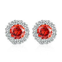 Elegant Women Round Red Cubic Zirconia CZ Sterling Silver Plated Stud Earrings