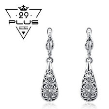 Vintage 18K White Gold Filled Filigree Drop Earrings Antique Style