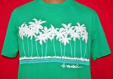 Vintage 80s HAWAII Puff Print Palm Trees 50/50 Green T-SHIRT L Vtg Crew Neck