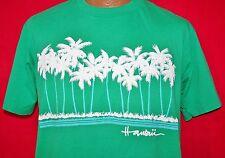 Vintage 80s HAWAII Puff Print Palm Trees 50/50 Green T-SHIRT L Vtg Crew Neck