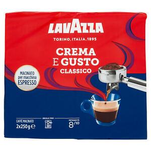 CAFFE LAVAZZA CREMA E GUSTO CAFFé MACINATO CAFFè ESPRESSO PER MACCHINA 250gr x 2