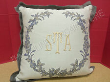 """Frontgate Eastern Accents Ceasar Linen Pillow Monogrammed STA 18"""" Graphite"""