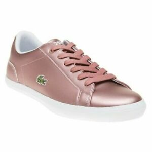 New Girls Lacoste Pink Metallic Lerond Leather Trainers Court Lace Up