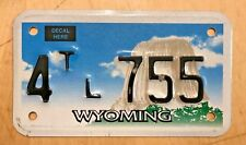 "WYOMING GRAPHIC  TRAILER CYCLE SIZE  LICENSE PLATE "" 4 TL 755 "" WY RLR TRL"