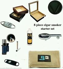 20 Count Cigars Glass top cherry Humidor Cutters  Lighter Ashtray kit Gift Set