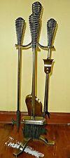 Spring Handled brushed brass effect fireside companion set