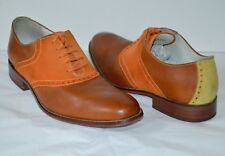 $198 Cole Haan NikeAir Air Colton Saddle Tan Leather Orange Suede sz 10 Oxford