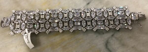 """CHARLES WINSTON Sterling Silver Clear CZ  Bracelet 7"""" NWT $525"""