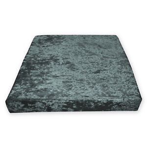 Mv17t Dark Grey Diamond Crushed Velvet 3D Box Seat Cushion Cover Custom size