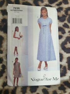 Sewing Pattern Vogue 7236. Children's Dress. Sizes 7-10