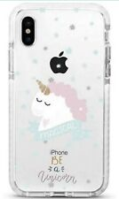 Cute Protective Girls Case for iPhone Xs X Clear Glass Screen Protector Unicorn