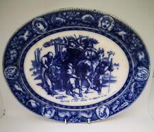 Rare Antique Wedgwood Ivanhoe Blue & White Platter 32.5 X 26cm