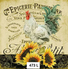 (473) TWO Individual Paper Luncheon Decoupage Napkin - ROOSTER SUNFLOWERS FRENCH