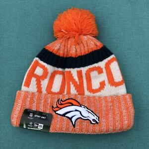New Denver Broncos New Era NFL On Field Sport Knit Cuff Pom Beanie Winter Hat
