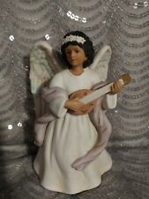 Homco Home Interior Black Angel with Mandolin #8867 Good Pre-Owned Condition
