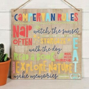 Campervan Rules Wooden Plaque Camping Sign