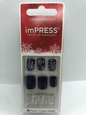 Kiss Nails Impress Press On Manicure Short Dark Blue Snowflake Christmas 79369
