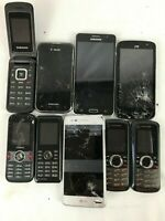 Lot of 9 Cracked Cell Phones Untested- Motorola, Samsung, BlackBerry LG HTC