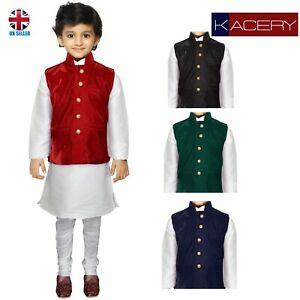 Kids Boys Indian Three Peice Kurta Pajama Traditional Jacket Suit  BK110