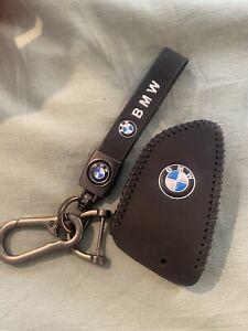 Car Logo Keychain Fob For BMW Key Chain Accessories Keyring Leather Black