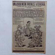 Partition Un jour mon Prince viendra Blanche neige Walt Disney