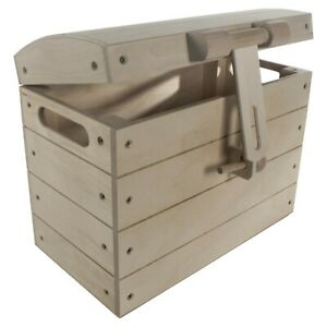 Large Pirate Wooden Treasure Chest Storage Toy Box / Unpainted Plain Wood Boxes