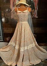 Vintage Cotton Prairie Maxi Folk Hippie Gown Belle Boho Festival Mod Dress S 8