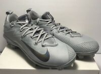 Nike Mens Size 12 Lunar Vapor Ultrafly Elite Grey Silver Baseball Cleats Metal