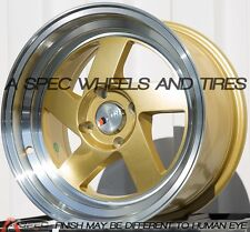 GOLD 15X8 +25 F1R F08 4X100 WHEEL FIT VW CABRIO GOLF JETTA PICK UP RABBI MK3 RIM