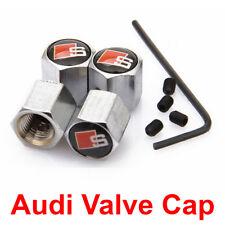 Audi Valve Cap S Line Car Logo Silver Anti-Theft Wheel Tire Stem Air Dust Cover