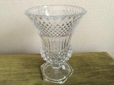 "VAL ST. LAMBERT Heavy Cut Crystal Glass Vase 9 1/2"" Heavy Pedestal Base Signed"