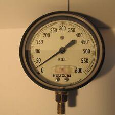 "HELICOID 0-600 PSIG – Pressure Gauge 4.5"" Dial –USA – [Mid 1900s] – USED"