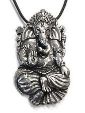 Ganesh Elephant Hindu God Path Clearer Unisex Pewter Pendant Charm Necklace