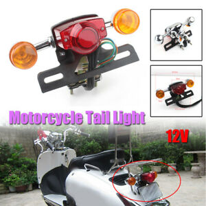 1× Motorcycle LED License Plate Turn Signal Brake Lamp Rear Tail Light Assembly