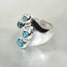 Blau Topas Ring, 925er Silber, Edelsteinring (21757), Edelsteinschmuck