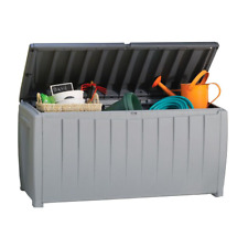 90 Gal. Deck Patio Outdoor Equipment Storage Box Weatherproof Lockable Container