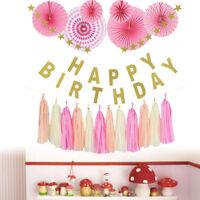 Joyeux anniversaire bannière papier gland boule Table parti suspendu décoration