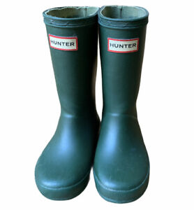 Hunter Rain Boots Original Wellies Green Unisex Toddler UK 9 US Girls 11 Boys 10