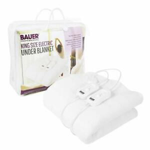 Electric Blanket Heated Washable Fleece Under Luxury  King Size Bed Dual Control