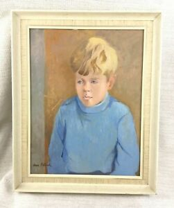 1977 Original Oil Painting Portrait of a Child Boy Framed Signed Mid Century