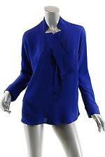 GIOGIO ARMANI Royal Blue 100% Silk Blouse-GORGEOUS $1545- NWT - 44/US 8