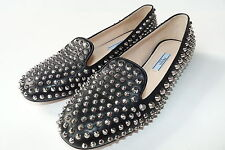 $990 Auth PRADA Black Leather Studded Smoking Slipper Flats Loafers Shoes 37 7