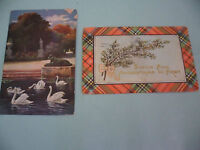 LOT 2 OLD VINTAGE RED SWAN WESTERN AUSTRALIA STAMPS ONE PENNY ANTIQUE POSTCARDS