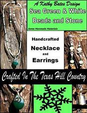 "Kathy Bates Designer 17"" Green & White Necklace W/Earrings Custom Texas Jewelry"