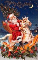 Vintage Christmas Fabric Block Santa Claus Rockin Horse