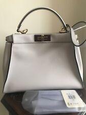 Authentic with tags, fendi peekaboo medium satchel handbag grey powder