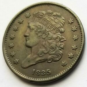 1835 CLASSIC HEAD HALF CENT BEAUTIFUL AU ABOUT UNCIRCULATED NICE COIN!