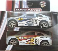 HOT RODS SUPER RACERS IN WHITE, RED, YELLOW & BLUE (2 CARS)  BNIB + FREE GIFT
