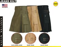 New Men Scottish Modern Kilt Jeans Cotton with Double Straps and pockets Colors